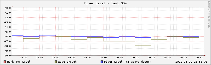 Graph of river level for the past hour
